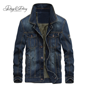 Image 1 - DAVYDAISY 2019 New Arrival Denim Jacket Men Washed Cowboy Stand Collar Hip Hop Ripped Street Designer Men Jeans Coat DCT 231