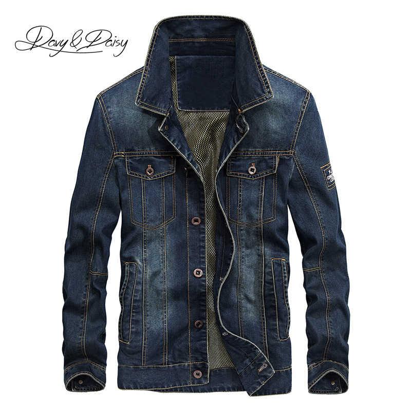 DAVYDAISY 2019 yeni varış Denim ceket erkekler yıkanmış kovboy standı yaka Hip Hop yırtık sokak tasarımcı erkek kot ceket DCT-231