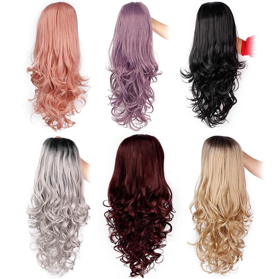 I's a парик длинные волнистые синтетические парики на кружеве фиолетовый парик шнурка для черных/белых женщин может косплей волна розовый Brwon парики