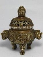 Seltene Asiatische dekoration Tibet buddhismus Messing Buddha Lion statue Drei Fuß Räuchergefäß-in Statuen & Skulpturen aus Heim und Garten bei