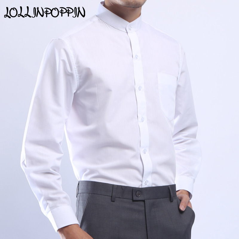 Mens Stand Collar White Shirt Long Sleeve New 2019 Chinese Style Men Shirts Mandarin Collar Single Breasted Dress Shirt