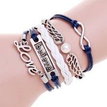 Pulseiras de couro multicamadas aves acredito que O AMOR charm bracelet pulseras hombre femme pulseira masculina pulseiras para mulheres dos homens