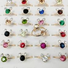 100pcs Fashion Wholesale Lots Bulk Korean Colorful Rhinestone Gold Color Mouse Cartoon Animal Band Finger Rings for Women Girls
