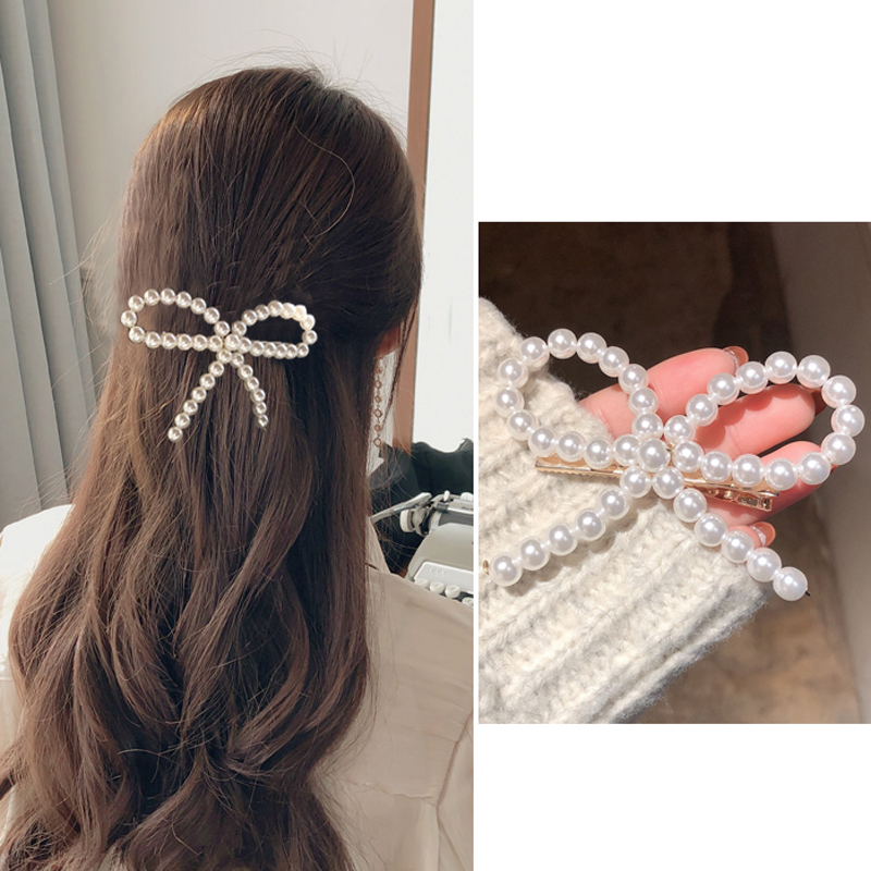 2019 Women Girls Elegant Full Pearls Big Bow Hair Clips Hair Accessories Headband Female Elegant Boutique Hairpins   Headwear