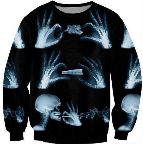 Women/Men Crewneck Fashion Clothing Casual Sweats X-RAY hand and head Skull Smoking Sweatshirts Tops Style Jumper Jersey