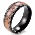 SHARDON 8mm Men's Camo Wedding Ring Vintage Dome Real Tree Camo Inlay Black Titanium Wedding Band