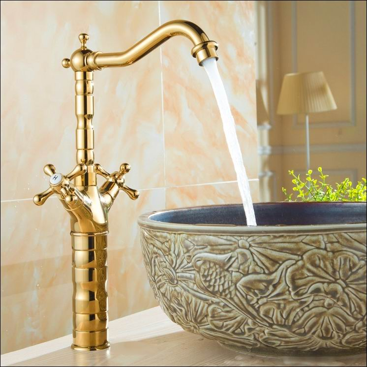Free Shipping Deck Mounted Dual Handle Gold Color Kitchen Sink Faucet Brass Hot and Cold Water Swivel Spout Mixer Tap quality golden brass kitchen faucet swivel spout vessel sink mixer tap hot and cold water deck mounted