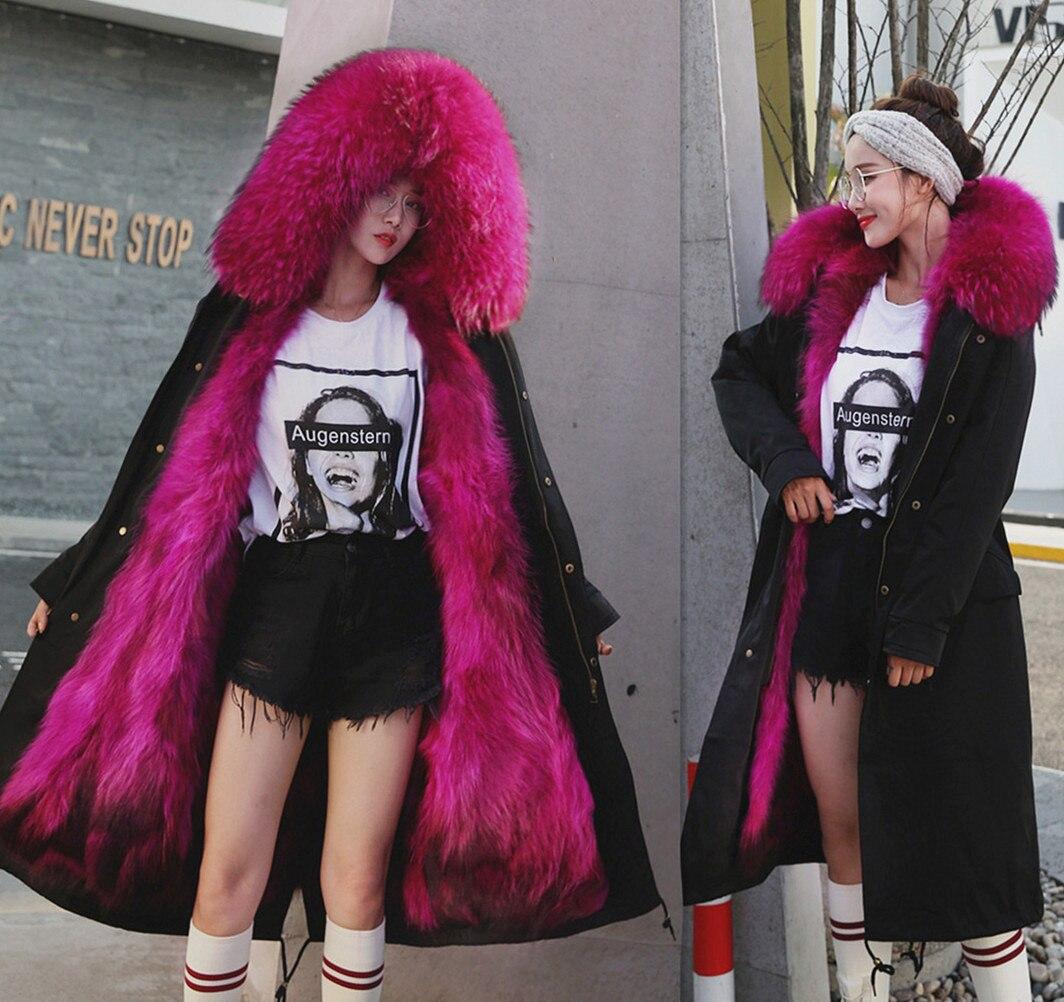 2018 Nouvelle Veste D'hiver Femmes Manteau Amovible 3 En 1 Vêtements D'extérieur Naturel Véritable Fourrure De Raton Laveur Col Streetwear Parkas Casual Luxe