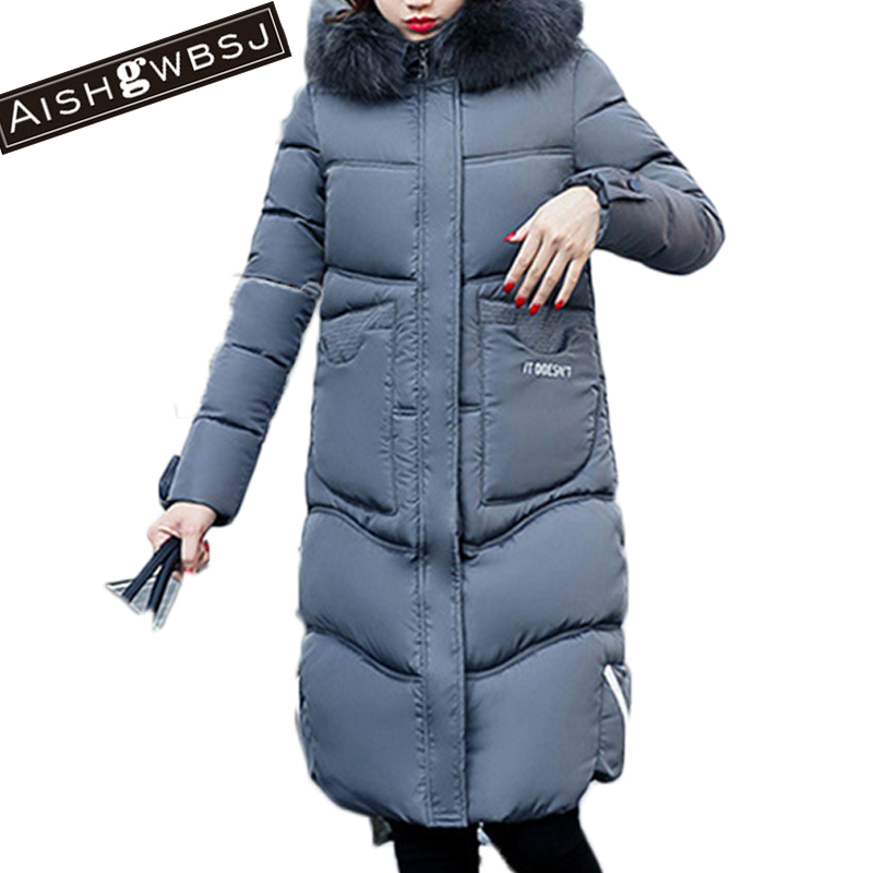 AISHGWBSJ 2017 new winter women coat jackets long silm hooded wadded snow coats female cotton padded parka with fur collar PL031 2017 women winter hooded winter coat with fur collar pockets female short jackets cotton padded parkas wadded snow wear yl002