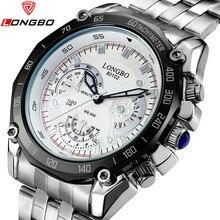 LONGBO Hombres de la Marca de Moda Casual de Cuarzo de Acero Inoxidable Reloj Análogo de Los Hombres Del Deporte Militar Relojes Reloj de Los Hombres Relogio masculino 80102