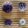 50pcs 10mm Amethyst Gradient Change Color Shamballa Beads Pave Clay Disco Crystal Shamballa Ball Beard ,DIY Bracelet Necklace