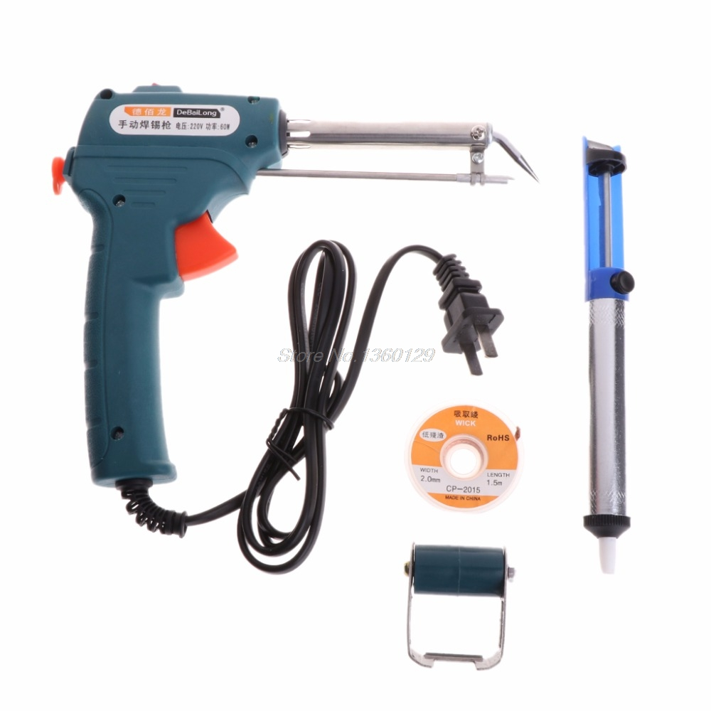 220V 60W EU Automatic Send Tin Gun Electric Soldering Iron Rework Station Desoldering Pump Welding Tool Solder Wire