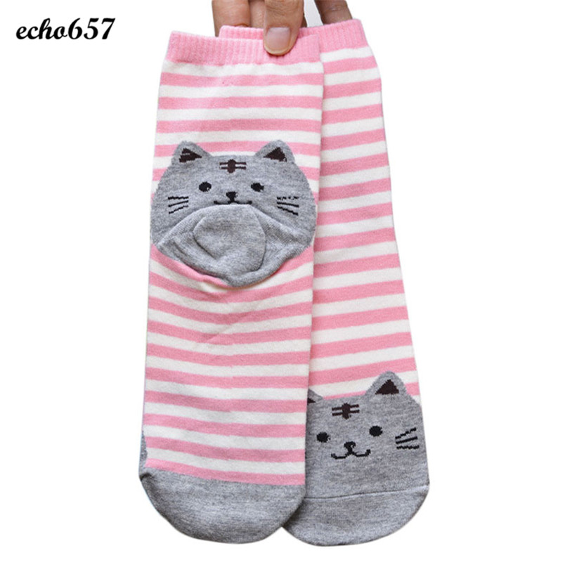 Echo657 New Fashion 3D Animals Striped Cartoon Socks Women Cat Footprints Cotton Socks Floor Nov 8