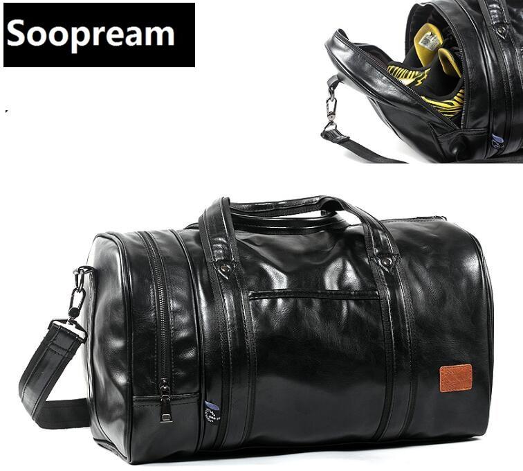 ФОТО AAA Solid black tote Men Bag PU Leather Men's Travel Casual Duffle Bags Bucket Handbag One Shoulder CrossBody Bag sling bags