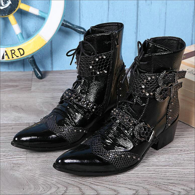Men s Rivet Motorcycle Boot Metal Toe Fashion Mens Boots Zipper Ankle Boots Men Genuine Leather