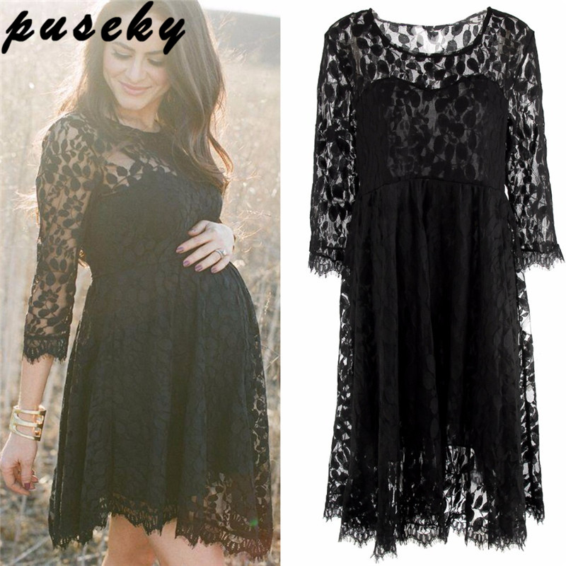 cd71536d6322f Puseky maternity photography Black Lace Maternity Dresses Long Sleeve  Pregnancy Dresses Clothes for Pregnant Women Spring