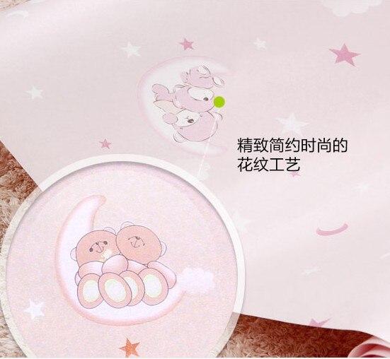 2016 new hot selling cartoon pink Children room wall paper girl princess bedroom non-woven wallpaper Sleep sleep cartoon bear
