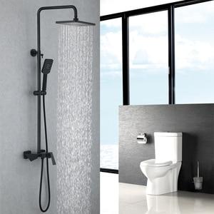 Image 3 - 골드와 블랙 럭셔리 욕실 샤워 세트 욕실 골드 & 블랙 벽 샤워 꼭지 욕조 샤워 믹서