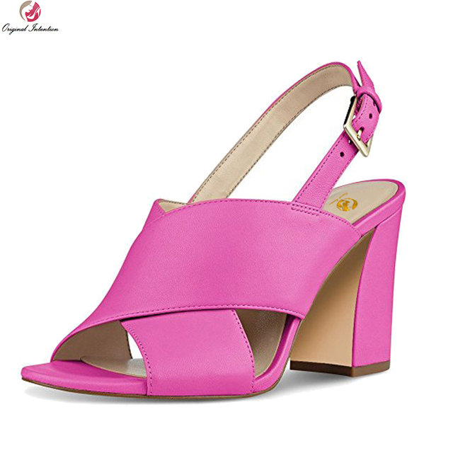 b0cc54f425 US $56.95 11% OFF Original Intention Super Fashion Women Sandals Open Toe  Square Heels Sandals Black Red Rose Pink Shoes Woman Plus US Size 4 15-in  ...