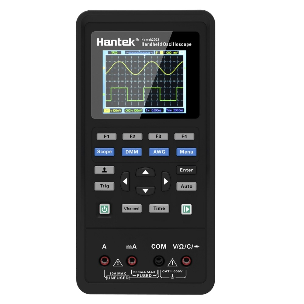 Hantek 3in1 2D72 250MSa/S Osciloscópio Digital Waveform Generator Multímetro USB Portátil 2 Canal 40mhz mhz 70 Multifunções