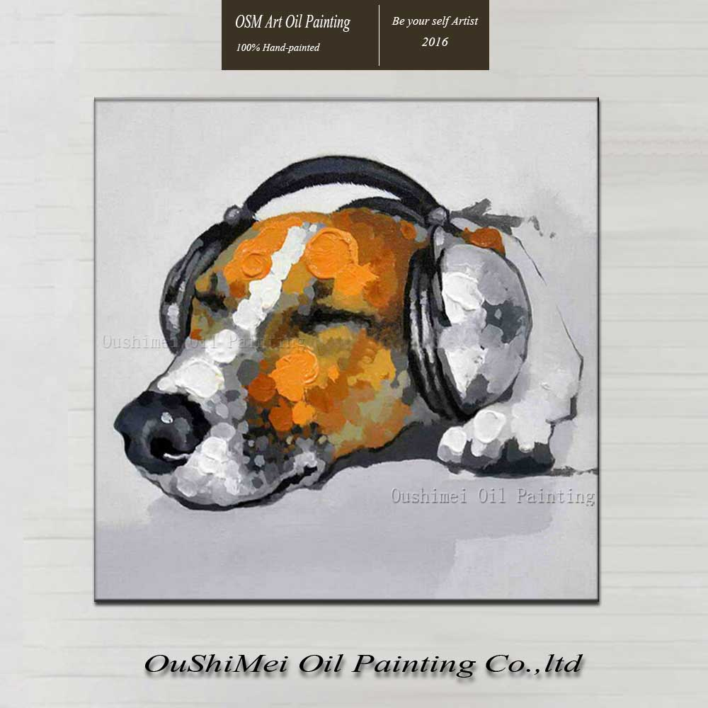 Hand Painted Modern Funny Animal Wall Artwork Kids Christmas Unique Gift Handmade Dog Listen to Music Art Oil Painting on Canvas