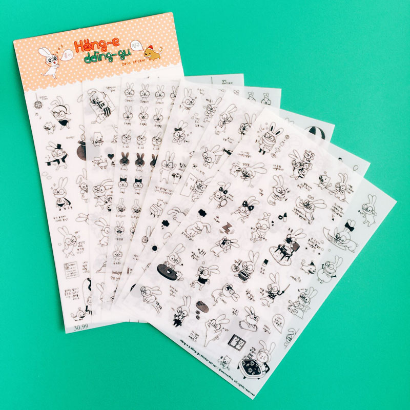 Z28 6 Sheets Kawaii Cute Funny Black White Rabbit DIY Decorative Stickers Diary Phone Bottle Decor Stick Label Kids Gift 14pcs creative kawaii lovely cute self made victoria rabbit animal stickers trolley case computer notebook stickers luggage