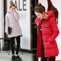 2016 Autumn winter jacket casual women long sleeve hooded medium long parkas new solid slim warm pink cotton padded coat mujer