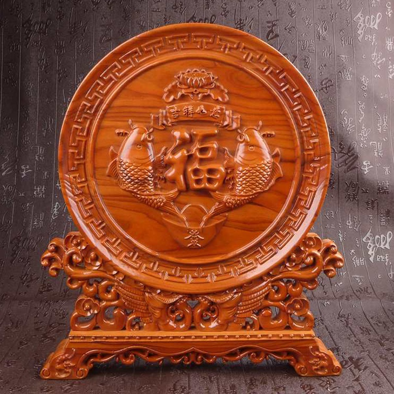 Long Yi Auious Ornaments Rich Fish Mahogany Wood Carving Decoration Sector Home Furnishing Gifts Year After