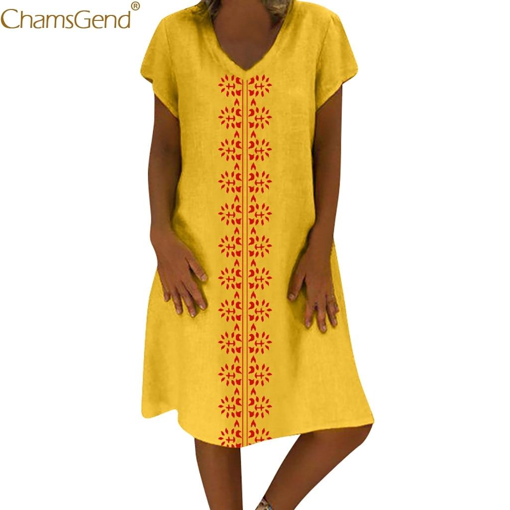 V-Neck Printed summer dress cotton summer dresses women 2019 dress elegant plus size Cotton And Linen Casual Ladies Mar
