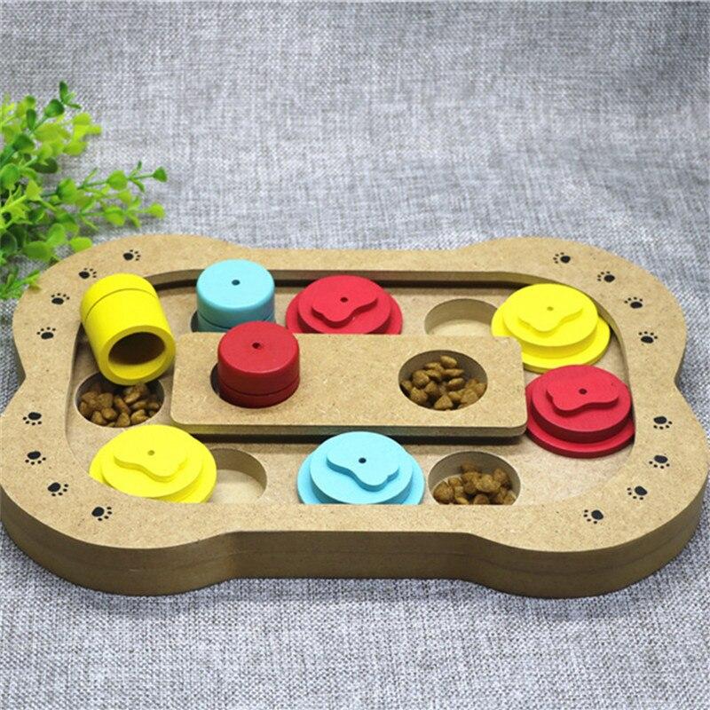 Petminru кошки Еда обработанных деревянных Автоматические кормушки для собак Щенок любимая игрушка чаши ПЭТ кости лапы головоломки интерактивные игрушки - Цвет: Bone type