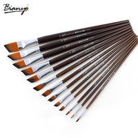 Bianyo 13 Pcs Angular Shaped Watercolor Brush Nylon Hair Brush Artists Paint For School Acrylic Gouache Paint Art Supplies