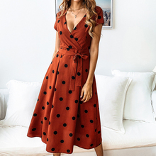 Women's Summer V Neck Polka Dot Short Sleeve Vintage Wrap Dress with Belt polka dot self tie wrap dress