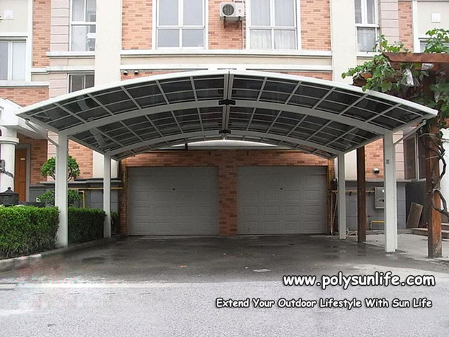 Sun Life Double M Carport, Aluminum Car Parking Shade With PC Sheet Roof,  Building
