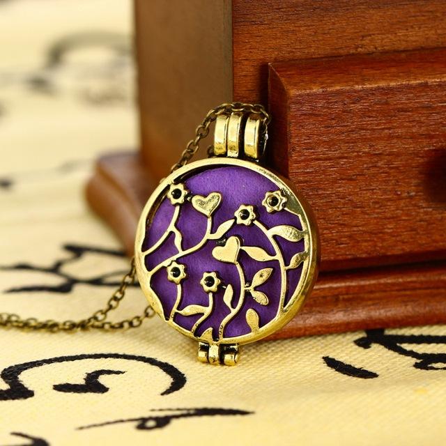 Flower Round Perfume Aromatherapy Pendant Necklace 6 pcs Set