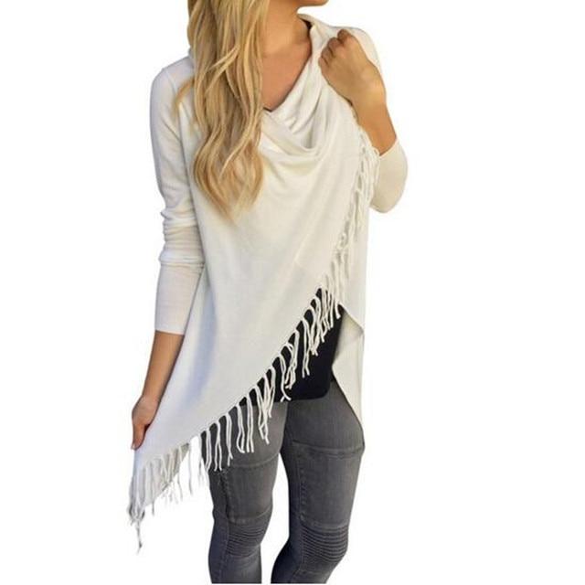 Adogirl New Tassel T shirt Women Long Sleeve Irregular Hem Bow Shawl Tops Loose Plus Size S-3XL Casual Cardigan Tee Shirts