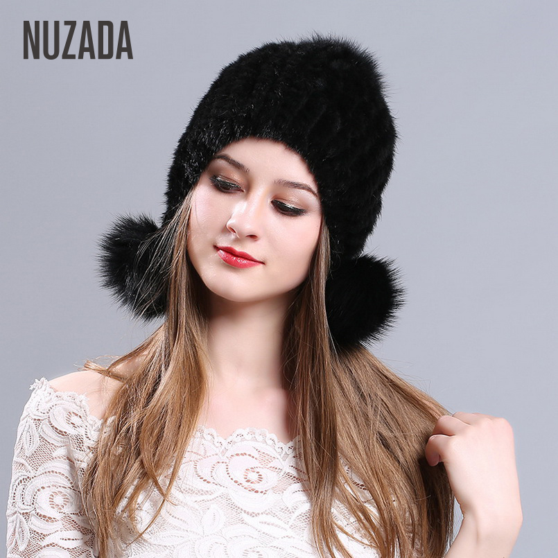 High Grade Fashion NUZADA Winter Hat Cap Real Mink Fur Knitted Caps Women Lady Girl Skullies Beanies Keep Warmth Effect