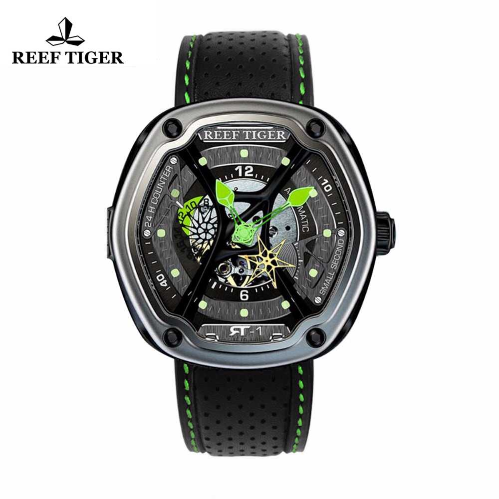 Reef Tiger/RT Luxury Sport Watch Luminous Dial  Automatic Creative Design Dive Watch Nylon/Leather/Rubber Strap RGA90S7
