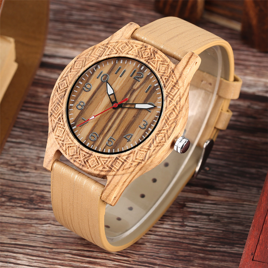 Classic Engraved Pattern Wooden Watch for Men Women Retro Fashion 2