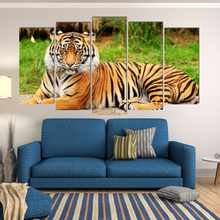 Tiger animal pastoral canvas painting art deco prints 5 psc realist wall pictures for dining room kitchen restaurant lobby