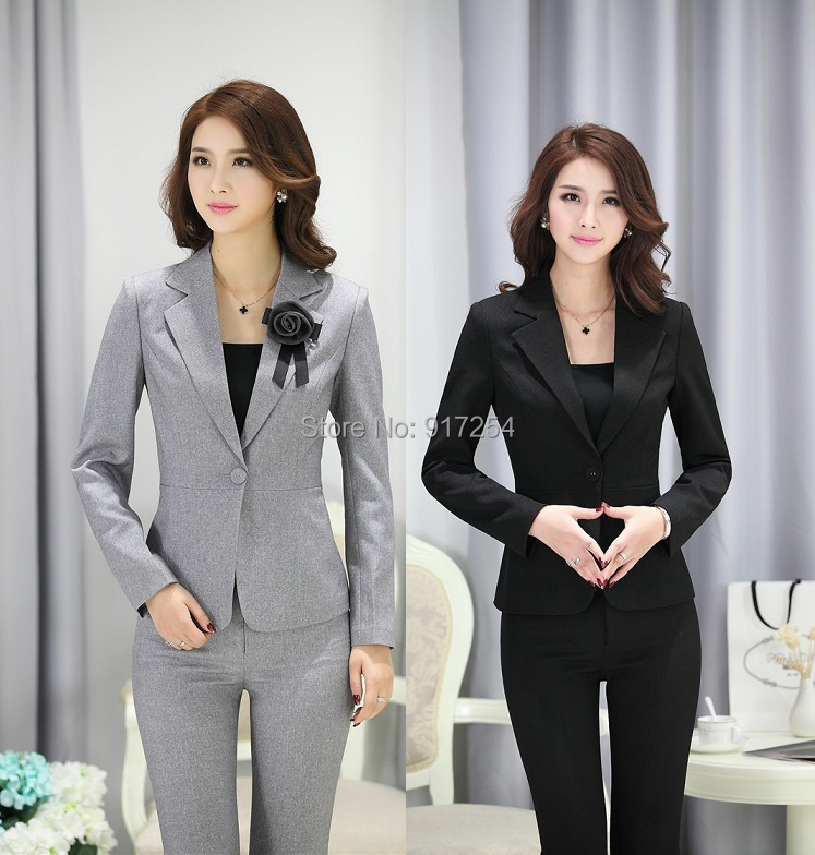 Plus Size Formal Pantsuits Uniform Style Business Work Wear Suits Jackets And Pants Office Trousers Blazers