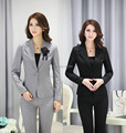 Plus Size Formal Pantsuits Uniform Style Business Work Wear Suits Jackets And Pants Office Trousers Blazers Set Elegant Grey