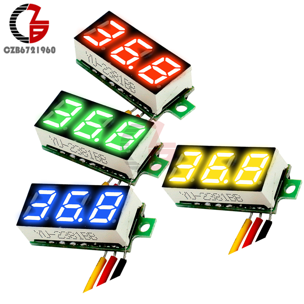 DC 0V-100V 0.28 Inch LED Digital Voltmeter Voltage Meter Volt Detector Monitor Tester Panel Car 12V 24V Red Green Blue Yellow