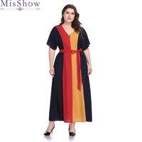Women Plus Size 4XL 5XL Robe Dresses Contrast Panel Dress V Neck Short Sleeve Casual Loose Maxi Long Dress Summer 2019 With Sash