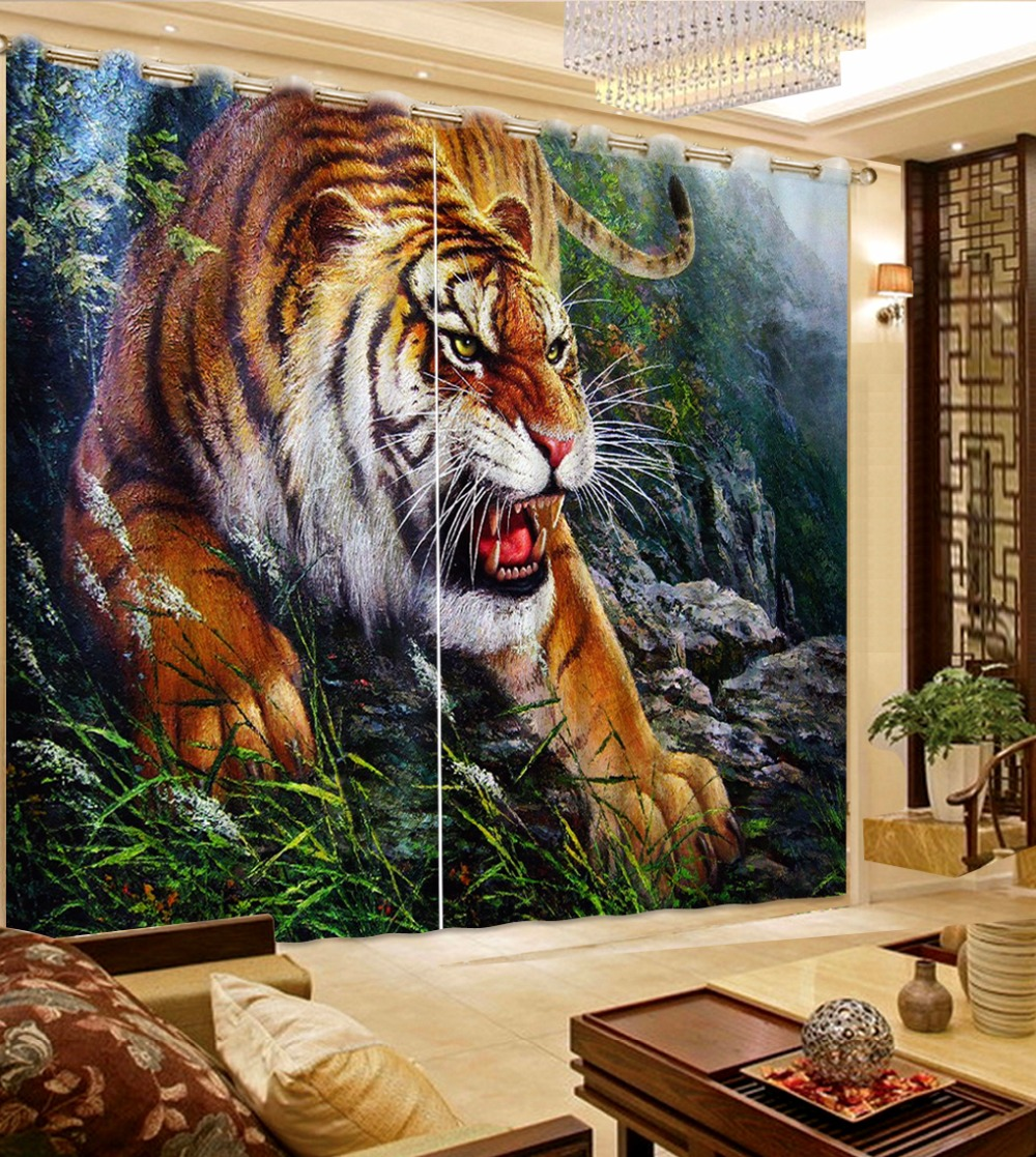 Modern Home Decoration Blackout 3D Curtain Stereoscopic Lifelike Tiger Bedroom Living Room Curtains Photo Curtains For Kids Room