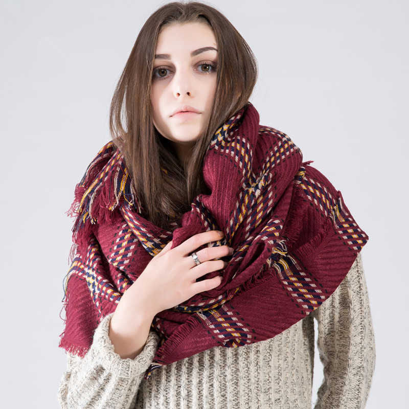 Winter New 16 Hot Tartan Scarf Desigual Oversize Cuadros New Luxury Brand Unisex Blanket Shawls Pashmina Women's Scarves PHS33D