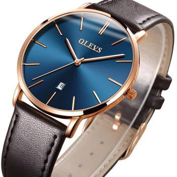 60% OFF ผู้ชาย Ultra บางนาฬิกาควอตซ์หนังสีน้ำตาลนาฬิกาแบรนด์หรูอัตโนมัติวันที่ธุรกิจนาฬิกาข้อมื...