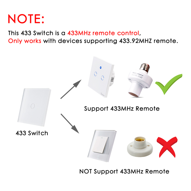 433Mhz Remote Control Wall Touch Switch for Sonoff T1 EU UK