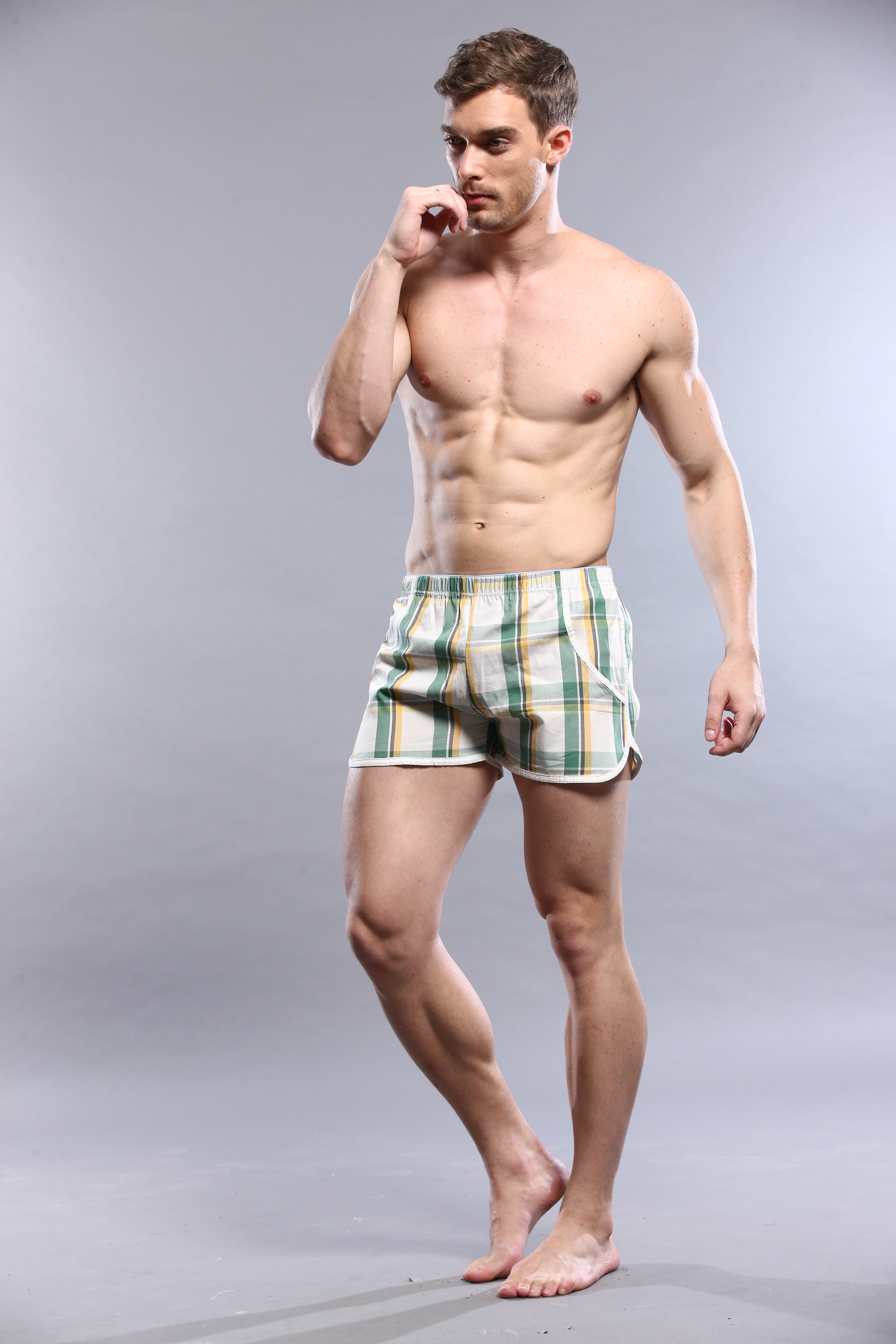 Male 100% cotton pajama pants plaid shorts four angle panties 100% cotton casual male 1111864 lounge pants