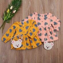 autumn new kid baby girls tutu dress long sleeves love heart shape print princess infant newborn baby girl dress autumn cloth