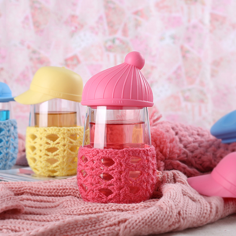 Double wall Pocket Glass Water bottle for kids Creative hat Design Cute Mini Belly drink May botll water with bag cover gift